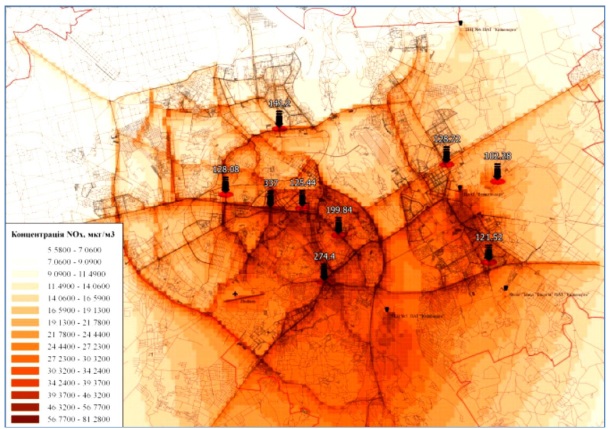 An example of mathematical modeling of pollution in the city of Kyiv
